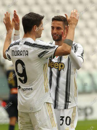 Alvaro Morata (Juventus FC) and Rodrigo Bentancur (Juventus FC) celebrates the goal