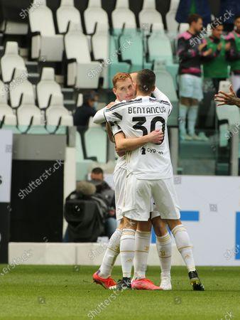 Dejan Kulusevski (Juventus FC) and Rodrigo Bentancur (Juventus FC) celebrates the goal