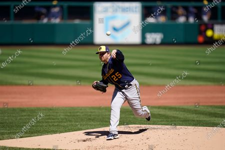 Editorial picture of Brewers Cardinals Baseball, St. Louis, United States - 11 Apr 2021