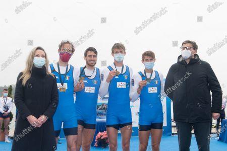 Valentina Vezzali (Ministro of Sport), Martino Goretti, Antonio Vicino, Patrick Rocek, Niels Torre (Italy) and Giancarlo Giorgetti (ministro) Lightweight Men's Quadruple Sculls 1 th classified