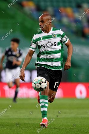 Joao Mario of Sporting CP in action during the Portuguese League football match between Sporting CP and FC Famalicao at Jose Alvalade stadium in Lisbon, Portugal on April 11, 2021.