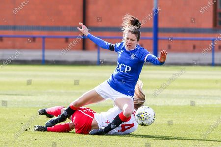 Stock Photo of Lizzie Arnot (#15) of Rangers Women FC & Kat Smart (#24) of Spartans FC Women collide during the Scottish Building Society SWPL1 Fixture Rangers FC vs Spartans FC at Rangers Training Centre, Glasgow, 11/04/2021 | Images courtesy of www.collargeimages.co.uk