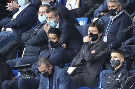 President of PSG Nasser Al Khelaifi, Sporting Director of PSG Leonardo Araujo, above Nasser President of RC Strasbourg Marc Keller