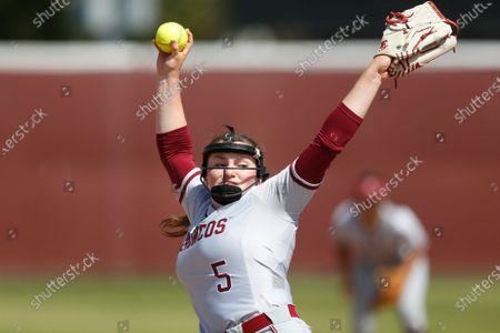 Stock Image of Lauren Anderson of Santa Clara pitches against Loyola Marymount during an NCAA softball game on in Santa Clara, Calif