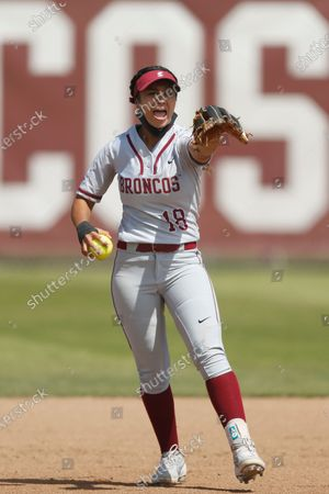 Allyson Ferreira of Santa Clara reacts after getting an out against Loyola Marymount during an NCAA softball game on in Santa Clara, Calif
