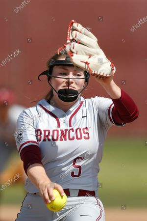 Stock Photo of Lauren Anderson of Santa Clara pitches against Loyola Marymount during an NCAA softball game on in Santa Clara, Calif