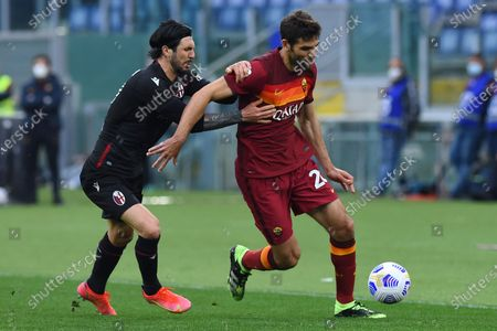Roberto Soriano of Bologna Federico Fazio of Roma during the Italian Serie A soccer match Roma vs Bologna in the Olympic stadium