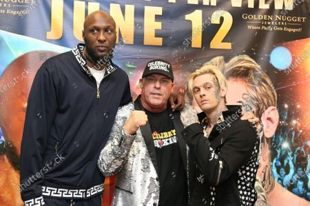 Aaron Carter pictured with his opponent, Lamar Odom at Celebrity Boxing press conference to promote the upcoming June 12, 2021 Showboat Hotel in Atlantic City Celebrity Boxing match
