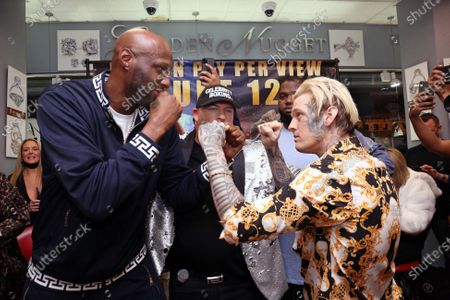 Stock Picture of Aaron Carter pictured with his opponent, Lamar Odom at Celebrity Boxing press conference to promote the upcoming June 12, 2021 Showboat Hotel in Atlantic City Celebrity Boxing match