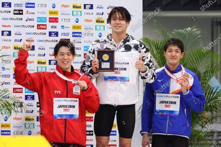 (L to R)  Akira Namba,  Katsumi Nakamura,  Kosuke Matsui - Swimming :  Japan Swimming Championships (JAPAN SWIM 2021)  Men's 50m Freestyle Award Ceremony  at Tokyo Aquatics Centre, Tokyo, Japan.
