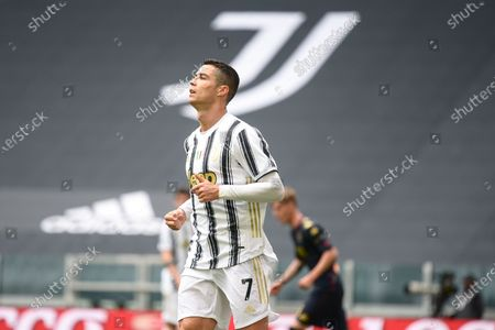 Cristiano Ronaldo of Juventus FC disappointment during the Serie A football match between Juventus and Genoa CFC. Sporting stadiums around Italy remain under strict restrictions due to the Coronavirus Pandemic as Government social distancing laws prohibit fans inside venues resulting in games being played behind closed doors. Juventus won 3-1 over Genoa