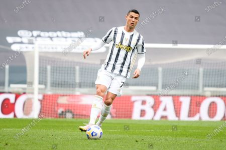 Cristiano Ronaldo of Juventus FC during the Serie A football match between Juventus and Genoa CFC. Sporting stadiums around Italy remain under strict restrictions due to the Coronavirus Pandemic as Government social distancing laws prohibit fans inside venues resulting in games being played behind closed doors. Juventus won 3-1 over Genoa