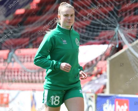 Sarah Saunders of Chichester and Selsey Ladies FC during the pre-match warm-up  during The Vitality Women's FA Cup Third Round Proper between Leyton Orient Women  and Chichester & Selsey Ladies at Breyer Group Stadium, Brisbane Road,  London UK on 11th  April 2021