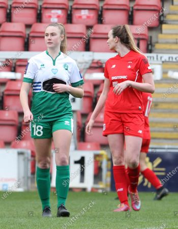 Stock Image of Sarah Saunders of Chichester and Selsey Ladies FC during The Vitality Women's FA Cup Third Round Proper between Leyton Orient Women  and Chichester & Selsey Ladies at Breyer Group Stadium, Brisbane Road Stadium ,Brisbane Road,  London UK on 11th  April 2021