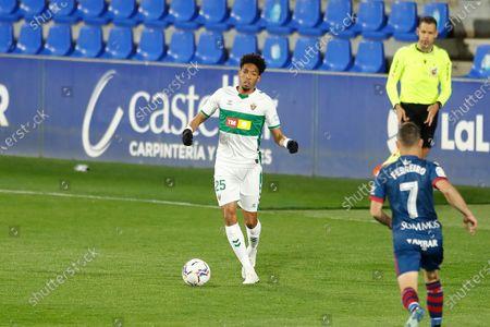 """Johan Mojica (Elche) - Football / Soccer : Spanish """"La Liga Santander"""" match between SD Huesca 3-1 Elche CF at the Estadio El Alcoraz in Huesca, Spain."""