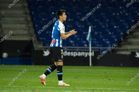 (210412) - CORNELLA, April 12, 2021 (Xinhua) - RCD Espanyol's Wu Lei reacts during a Spanish second division league football match between RCD Espanyol and CD Leganes in Cornella, Spain, April 11, 2021.