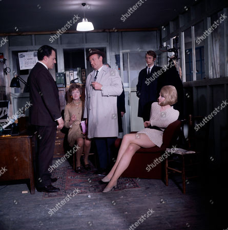 George Roden, as played by Stanley Meadows, Inspector Large, as played by Ivor Dean, Mrs. Roden, as played by Madge Ryan, and Sergeant Hinds, as played by Richard Kerley