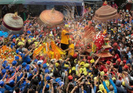 Editorial image of Chariot festival in Kathmandu, Nepal - 12 Apr 2021