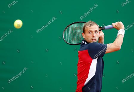 Stock Picture of Daniel Evans of Britain in action during his first round match against Dusan Lajovic of Serbia at the Monte-Carlo Rolex Masters tournament in Roquebrune Cap Martin, France, 12 April 2021.