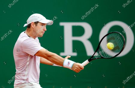 Stock Image of Dusan Lajovic of Serbia in action during his first round match against Daniel Evans of Britain at the Monte-Carlo Rolex Masters tournament in Roquebrune Cap Martin, France, 12 April 2021.