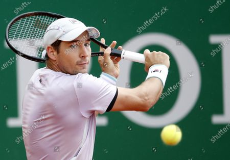 Dusan Lajovic of Serbia in action during his first round match against Daniel Evans of Britain at the Monte-Carlo Rolex Masters tournament in Roquebrune Cap Martin, France, 12 April 2021.