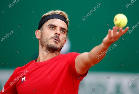 Thomas Fabbiano of Italy serves the ball during his first round match against Hubert Hurkacz of Poland at the Monte-Carlo Rolex Masters tournament in Roquebrune Cap Martin, France, 12 April 2021.