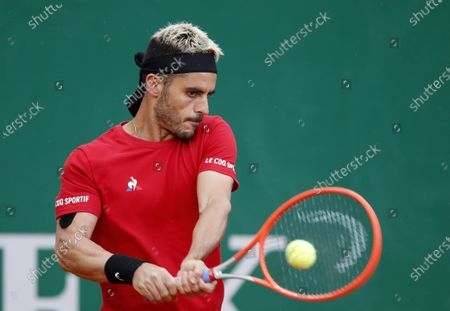 Thomas Fabbiano of Italy in action during his first round match against Hubert Hurkacz of Poland at the Monte-Carlo Rolex Masters tournament in Roquebrune Cap Martin, France, 12 April 2021.