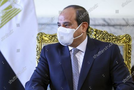 In this photo released by Russian Foreign Ministry Press Service, Egypt's President Abdel-Fattah al-Sisi attends a meeting with Russia's Foreign Minister Sergei Lavrov in Cairo, Egypt
