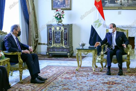 In this photo released by Russian Foreign Ministry Press Service, Egypt's President Abdel-Fattah al-Sisi, right, and Russia's Foreign Minister Sergei Lavrov attend a meeting in Cairo, Egypt