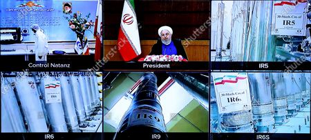 A screen grab from a videoconference showing views of centrifuges and devices at Iran's Natanz uranium enrichment plant, as well as Iranian President Hassan Rouhani delivering a speech, on Iran's National Nuclear Technology Day, in the capital Tehran. Iran today it has started up advanced centrifuge enrichment in a breach of its undertakings under a troubled 2015 nuclear deal, days after talks on rescuing it got. President Hassan Rouhani officially inaugurated the cascades of 164 IR-6 centrifuges and 30 IR-5 devices at Iran's Natanz uranium enrichment plant in a ceremony by state television.