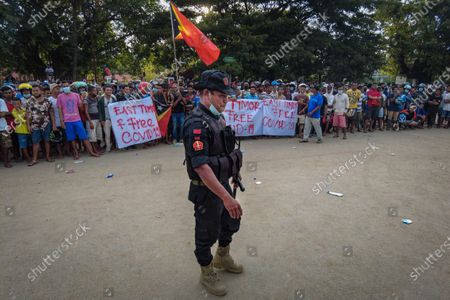 Editorial picture of Heavy police deployment around East Timor isolation center, Dili, Italy - 12 Apr 2021