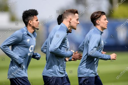 FC Porto's players Luis Dias (L), Marko Grujic (C) and Mateus Uribe (R) in action during a trainning session at Olival Trainning Academy in Vila Nova de Gaia,  Portugal, 12 April 2021. FC Porto will face Chelsea in their UEFA Champions League quarterfinal, second leg soccer match at Ramon Sanchez Pizjuan stadium in Seville, Andalusia, Spain, on 13 April 2021.