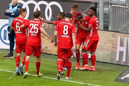 The team is pleased to announce the goal of Jamal Musiala #42 (FC Bayern Munich) for 1:0, Joshua Kimmir #6 (FC Bayern Munich), Thomas Müller #25 (FC Bayern Munich), David Alaba #27 (FC Bayern Munich), Javi Martinez #8 (FC Bayern Munich), Christopher Scott #32 (FC Munich)
