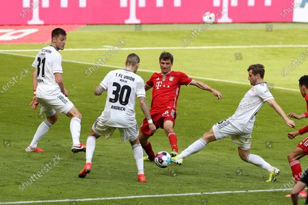 Robin Knoche #31 (1. FC Union Berlin), Robert Andrich #30 (1. FC Union Berlin), Thomas Müller #25 (FC Bayern Munich), Christopher Lenz #25 (1. FC Union Berlin)