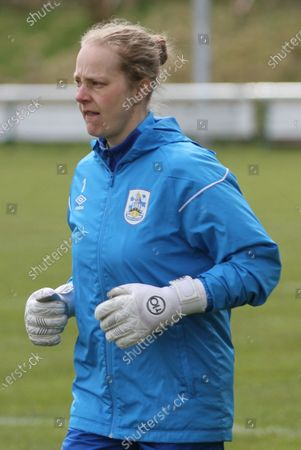 Laura Carter (#1 Huddersfield Town) warming up before the Womens FA Cup game between Huddersfield Town and Brighouse Town at the Stafflex Arena in Huddersfield