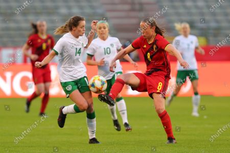 Lenie Onzia (8) of Belgium and Heather Payne (14) of the Irish Republic pictured during a friendly female soccer game between the national teams of Belgium, called the Red Flames and The Republic of Ireland