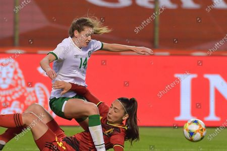 Stock Picture of Heather Payne (14) of the Irish Republic and Amber Tysiak (4) of Belgium pictured during a friendly female soccer game between the national teams of Belgium, called the Red Flames and The Republic of Ireland