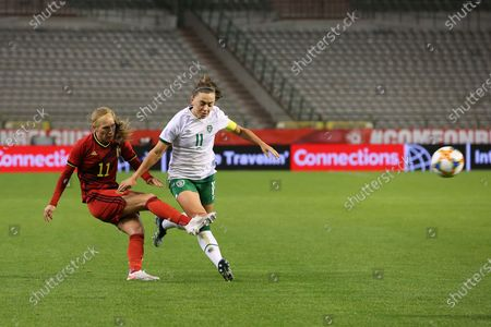 Janice Cayman (11) of Belgium and Katie Mc Cabe (11) of the Irish Republic pictured during a friendly female soccer game between the national teams of Belgium, called the Red Flames and The Republic of Ireland