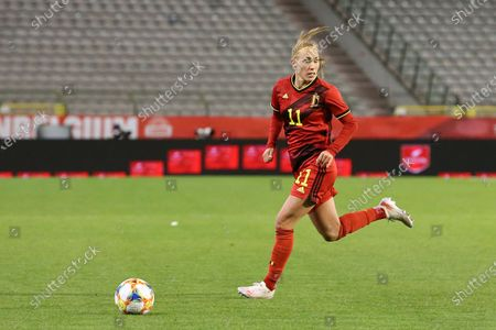 Janice Cayman (11) of Belgium pictured during a friendly female soccer game between the national teams of Belgium, called the Red Flames and The Republic of Ireland