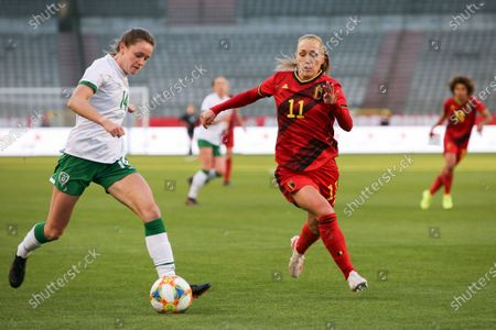 Heather Payne (14) of the Irish Republic and Janice Cayman (11) of Belgium pictured during a friendly female soccer game between the national teams of Belgium, called the Red Flames and The Republic of Ireland