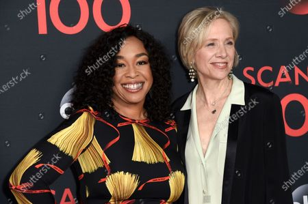 """Producers Shonda Rhimes, left, and Betsy Beers attend the """"Scandal"""" 100th Episode Celebration, in West Hollywood, Calif. Rhimes and Beers will be honored for their wardrobe efforts with the Distinguished Collaborator Award for projects like """"Grey's Anatomy"""" and """"Bridgerton"""" at the Costume Designers Guild Awards"""