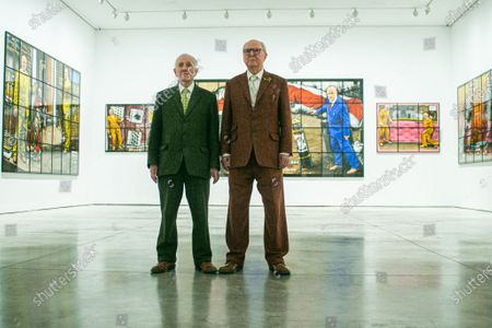 A preview of 'NEW NORMAL PICTURES', a solo exhibition at the White Cube Gallery, Park Lane London, by Gilbert & George (pictured) bringing together 26 new pictures described by the artists as 'celebratory, crazed and super-modern'. Continuing their 'Pilgrim's Progress' through east London, the artists capture the mood of the moment and appear as zonked figures amongst disorientating cityscapes