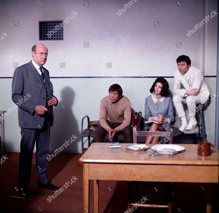 Inspector Large, as played by Ivor Dean, Jeff Randall, as played by Mike Pratt, Elizabeth Saxon, as played by Sue Lloyd, and Marty Hopkirk, as played by Kenneth Cope