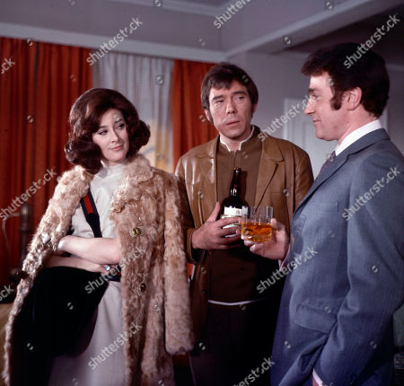 Elizabeth Saxon, as played by Sue Lloyd, Jeff Randall, as played by Mike Pratt, and Kevin O'Malley, as played by Roy Desmond