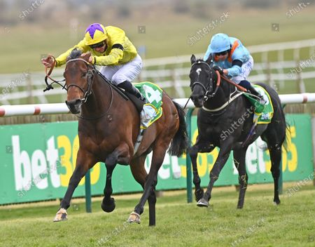 (L) My Oberon (James Doyle) winning The bet365 Earl of Sefton Stakes from (R) Maries Diamond (Silvestre De Sousa).