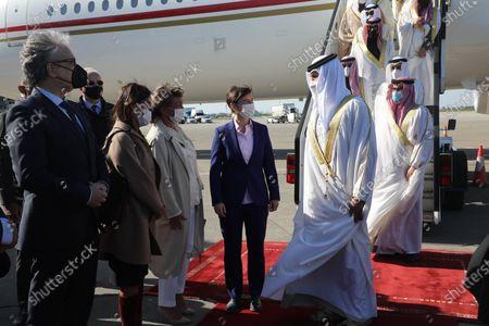 "The Prime Minister of Serbia, Ana Brnabic, welcomed Sheik Nasser bin Hamad Al Khalifa today at the Belgrade ""Nikola Tesla"" airport."
