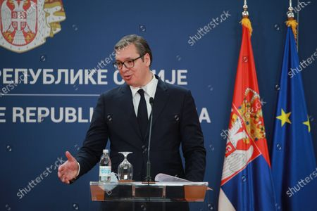 Stock Photo of King of Bahrain Humanitarian Aid Studies Youth and National Security Advisor Nasser Hamad bin Isa Al Khalifa and Serbian President Aleksandar Vucic meeting in Belgrade, Serbia on March 03, 2021.