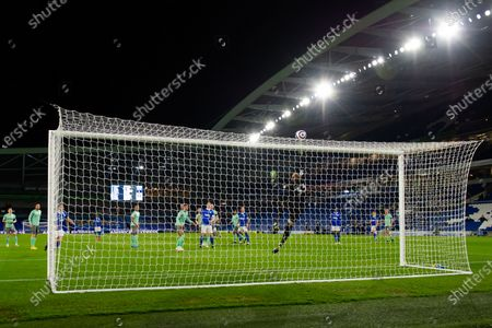 Football - 2020 / 2021 Premier League - Brighton & Hove Albion vs Everton - Amex Stadium Everton's Robin Olsen tips the ball over the bar COLORSPORT/ASHLEY WESTERN