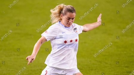 Stock Photo of Chicago Red Stars forward Kealia Ohai Watt (2) prepares to kick during an NWSL Challenge Cup soccer match, in Houston
