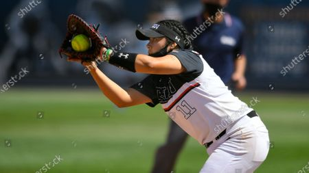 Stock Picture of Cal State Northridge's #11 Paloma Usquiano Hannah Becerra during an NCAA softball game, in Fullerton, Calif